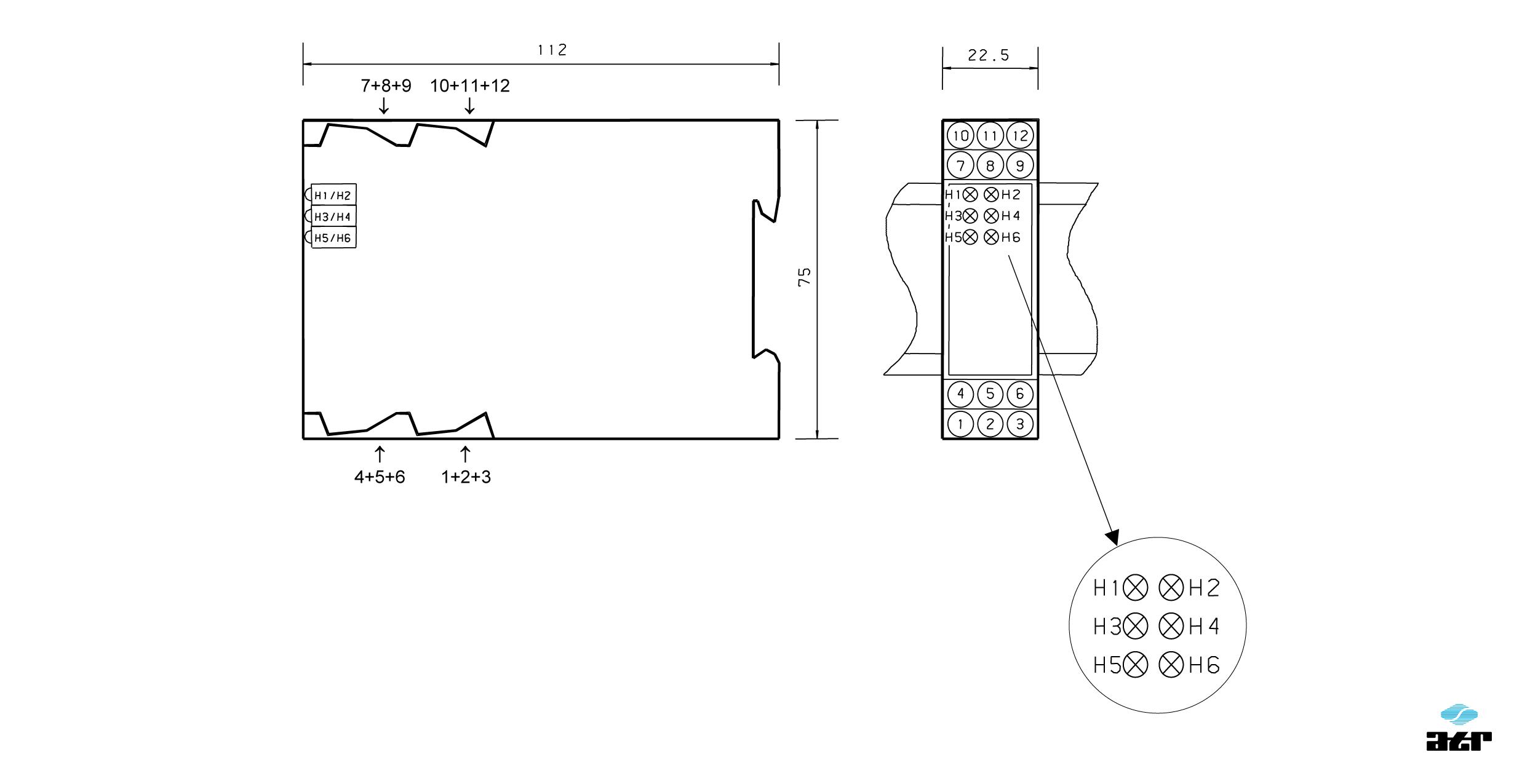 Gehäusemaße: ATR Analoge Signalverarbeiter BM101