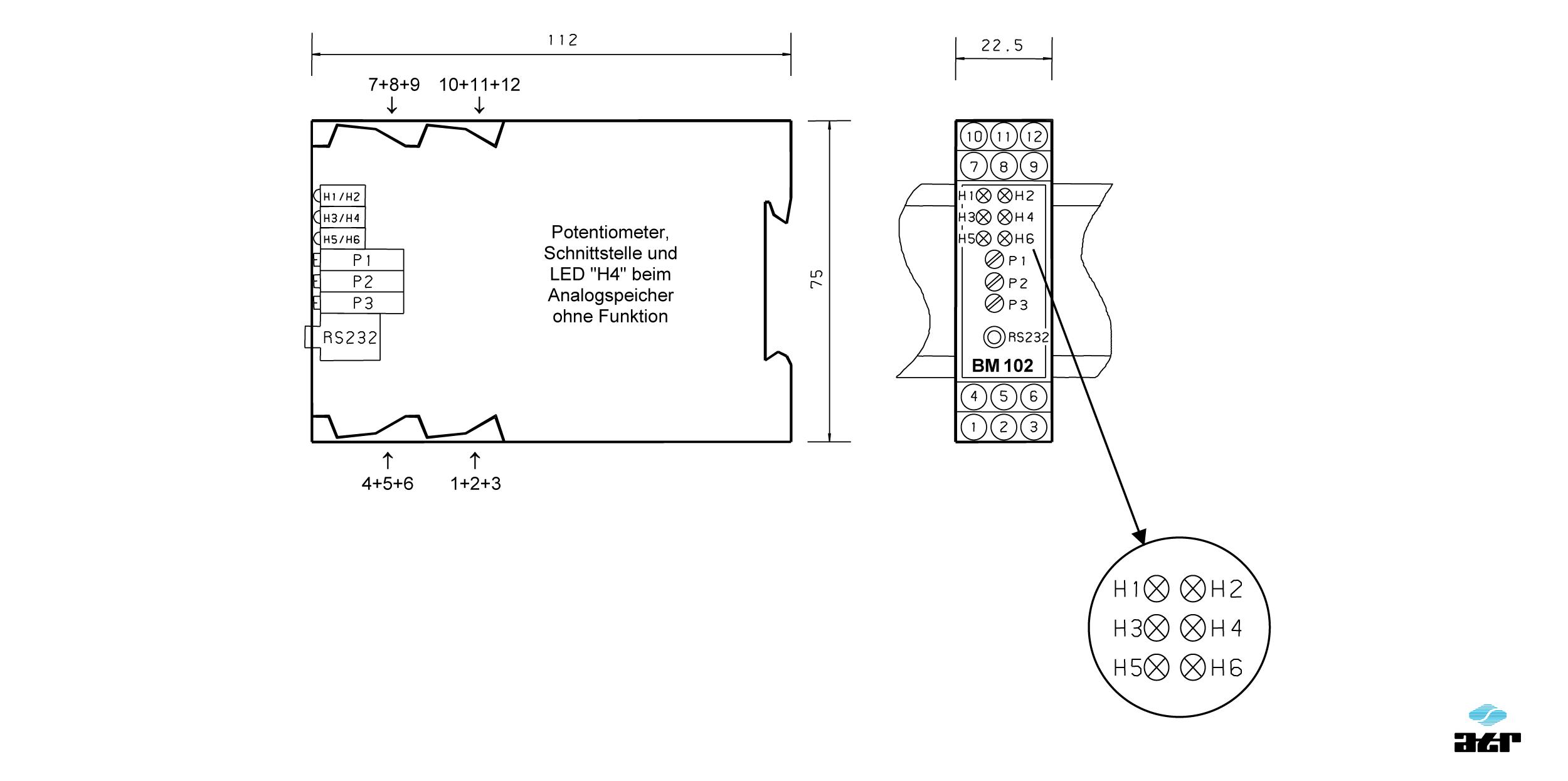 Gehäusemaße: ATR Analoge Signalverarbeiter BM102