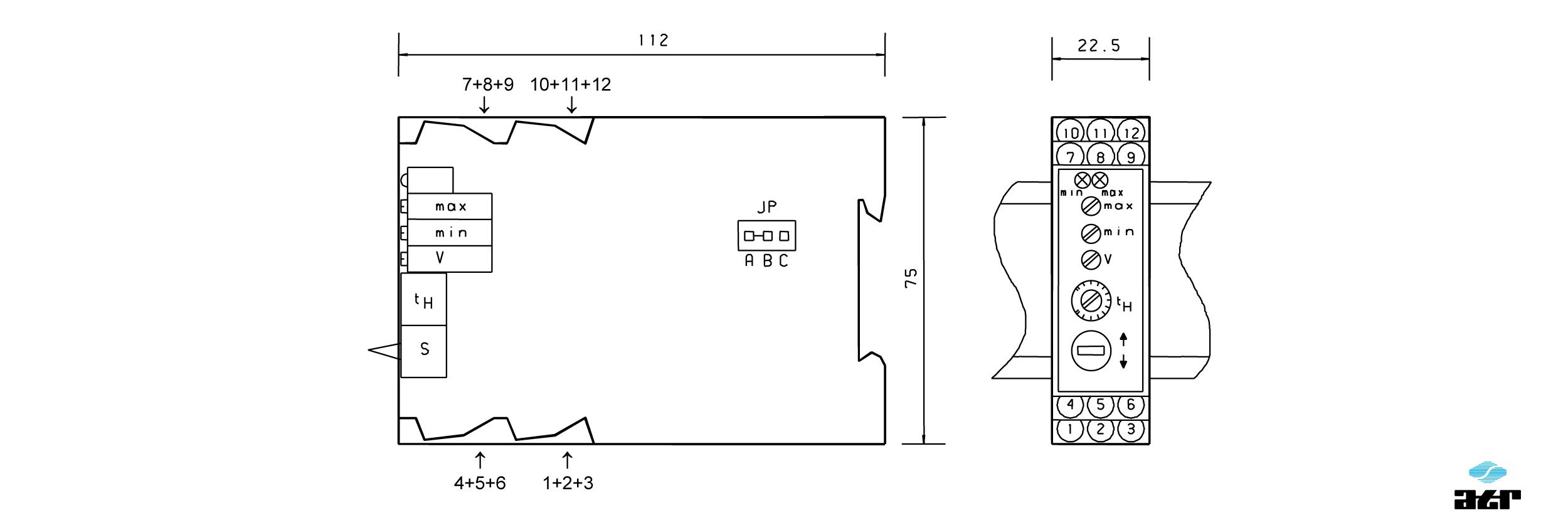 Gehäusemaße: ATR Analoge Signalverarbeiter IM7-IM7B