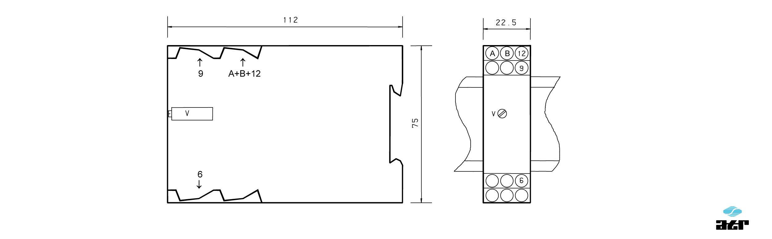 Gehäusemaße: ATR Analoge Signalverarbeiter VM237F