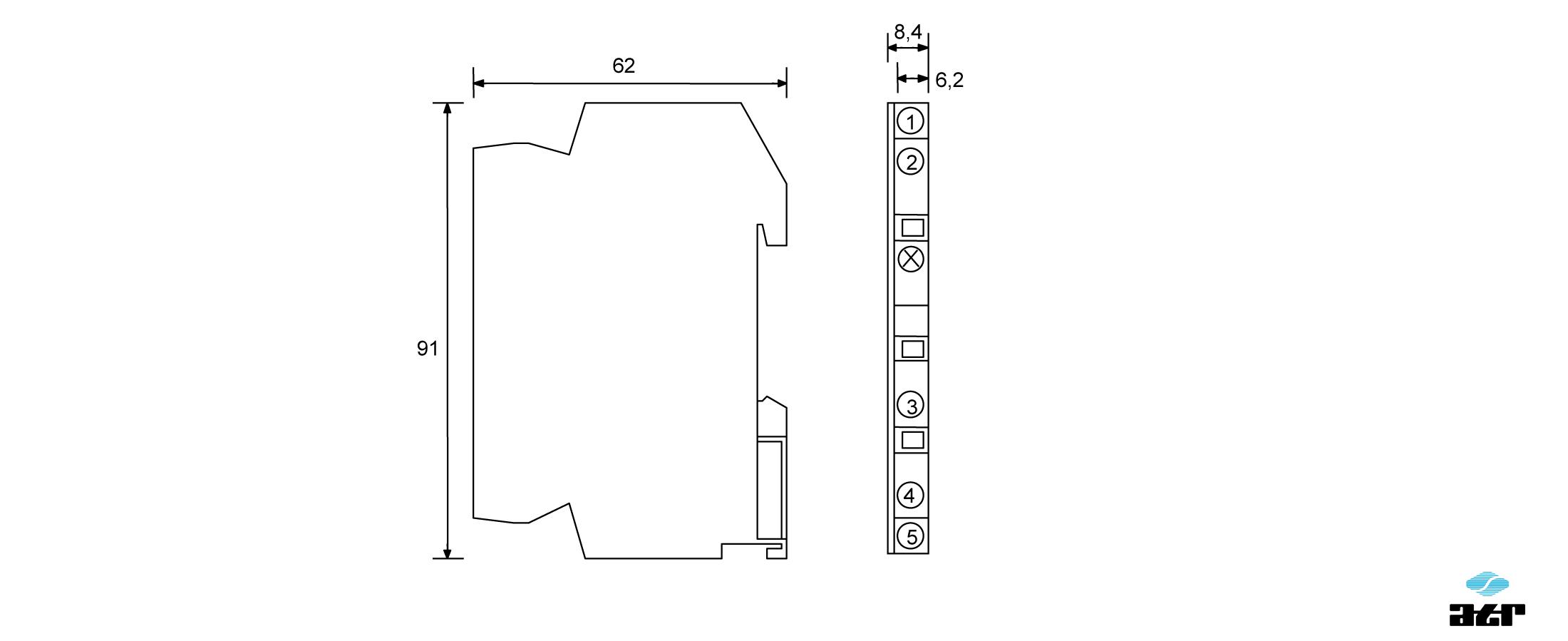 Gehäusemaße: ATR Passiver Analogschalter OT10