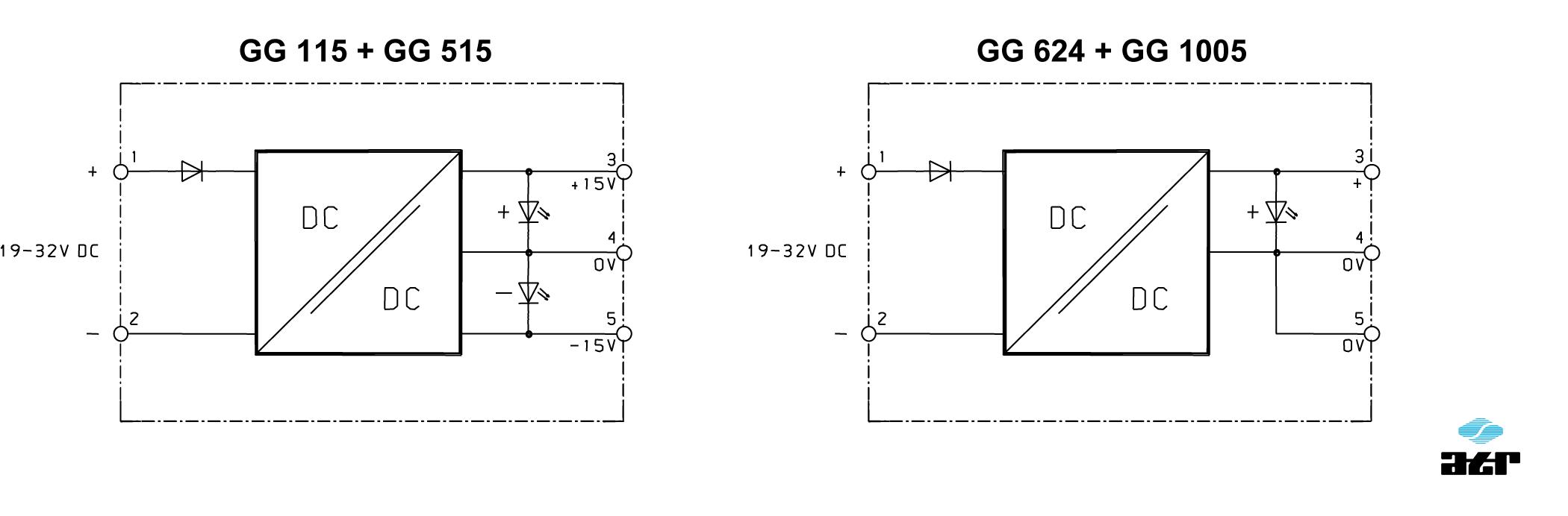 Anschlussplan: ATR DC/DC-Wandler GG115 - GG1005