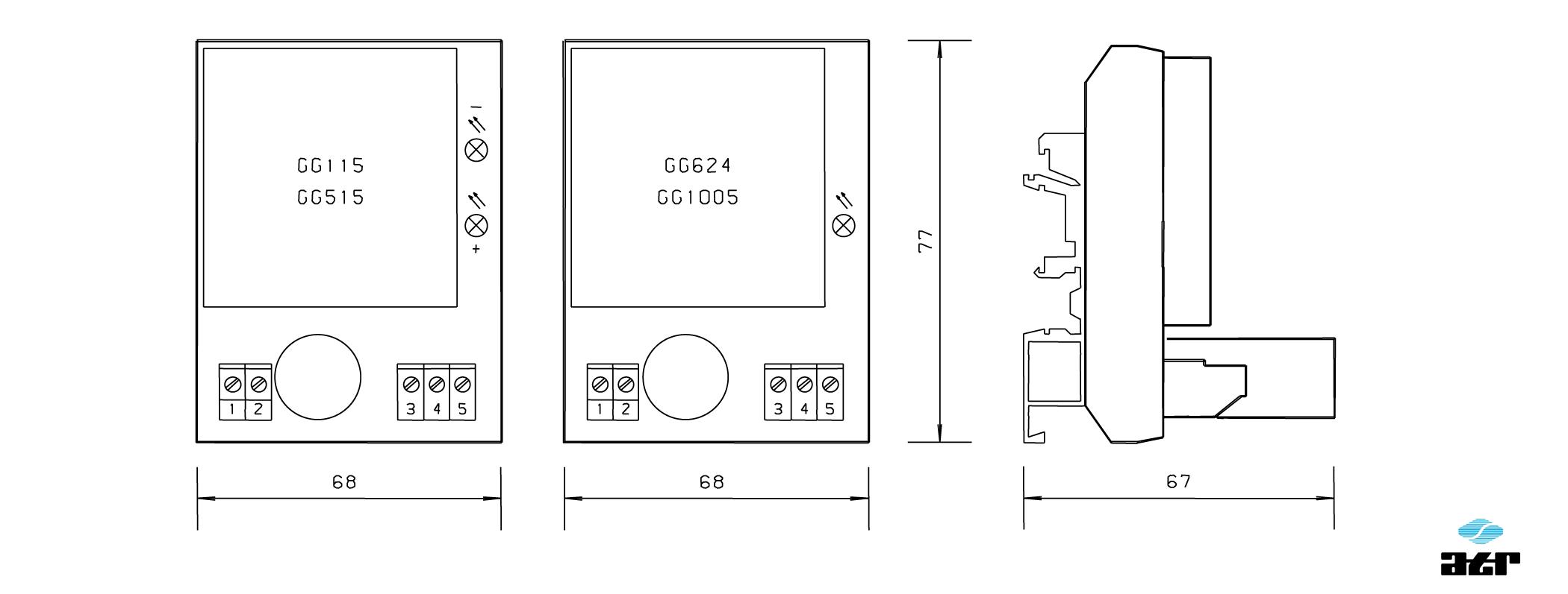 Gehäusemaße: ATR DC/DC-Wandler GG115 - GG1005