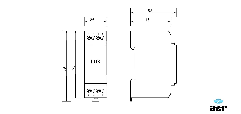 Gehäusemaße: ATR Digitale Signalverarbeiter DM3