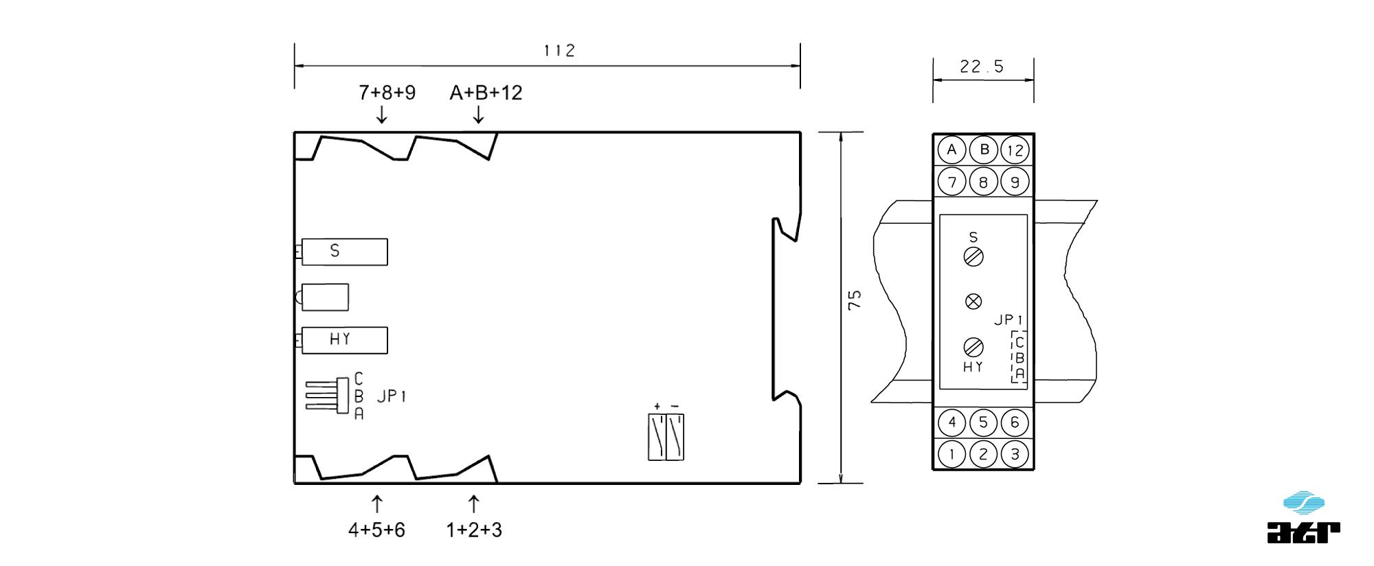 Gehäusemaße: ATR Grenzwertschalter KM212-KM213