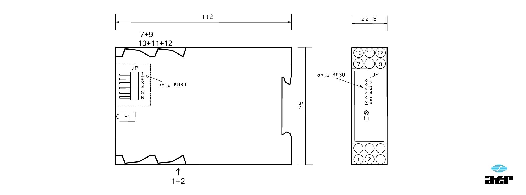 Gehäusemaße: ATR Grenzwertschalter KM30-KM31