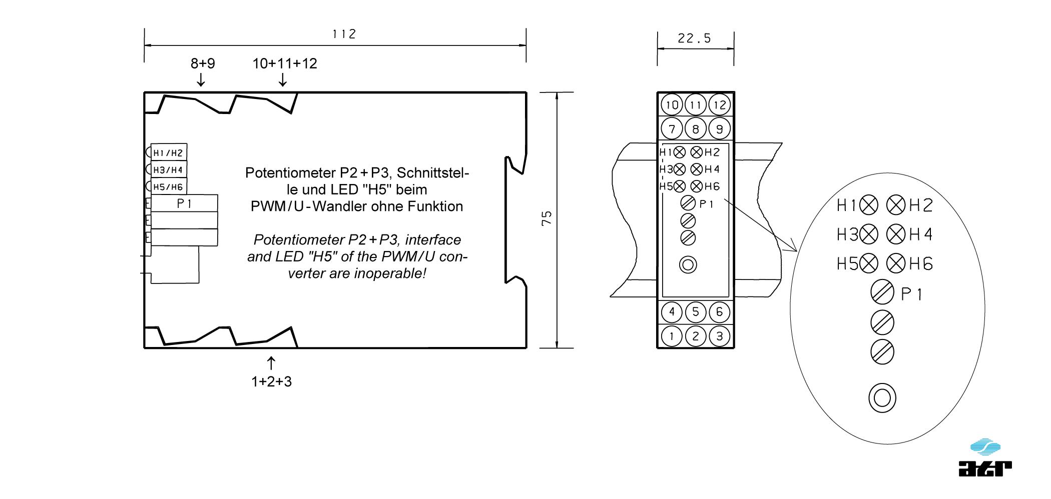 Gehäusemaße: ATR Messverstärker BM107