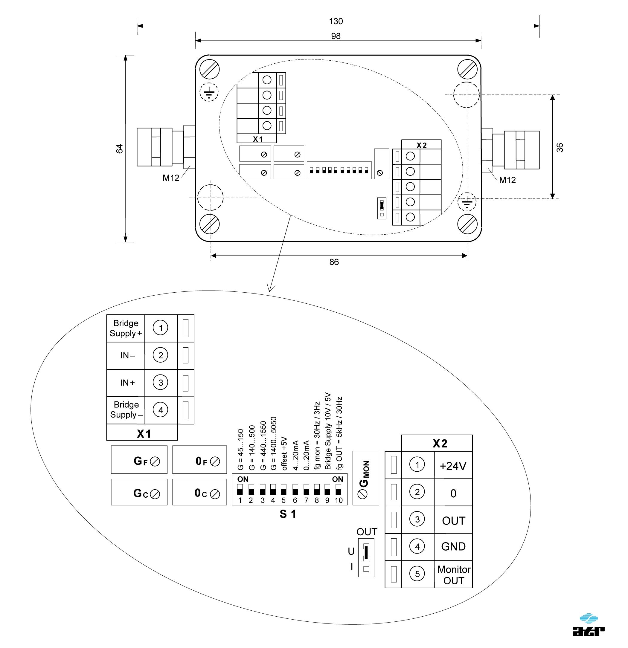Gehäusemaße: ATR Messverstärker VG140