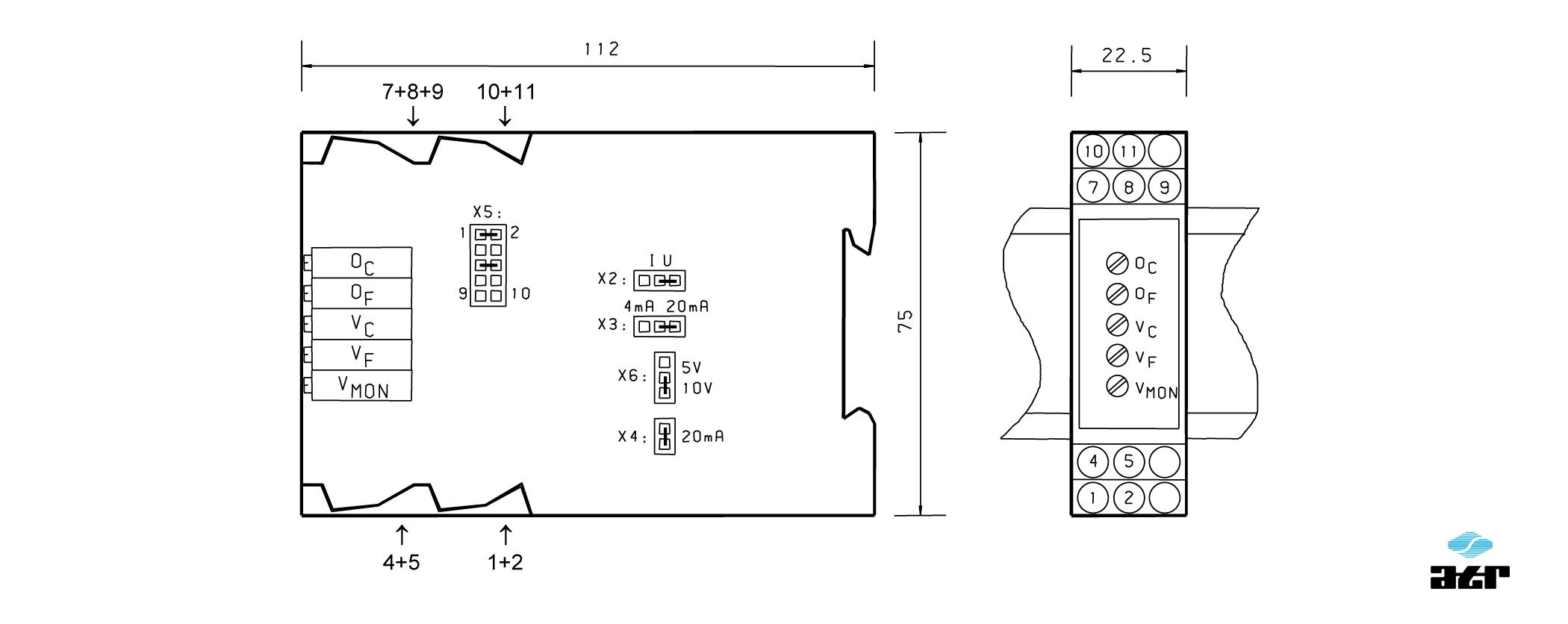 Gehäusemaße: ATR Messverstärker VM150-VM151