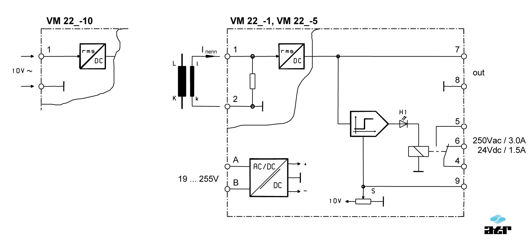 Anschlussplan: ATR Messverstärker VM221-VM223