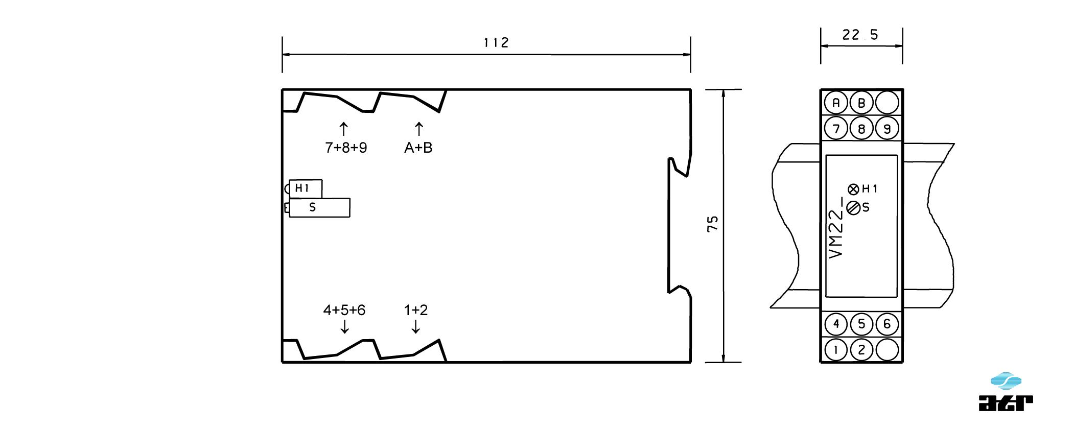 Gehäusemaße: ATR Messverstärker VM221-VM223