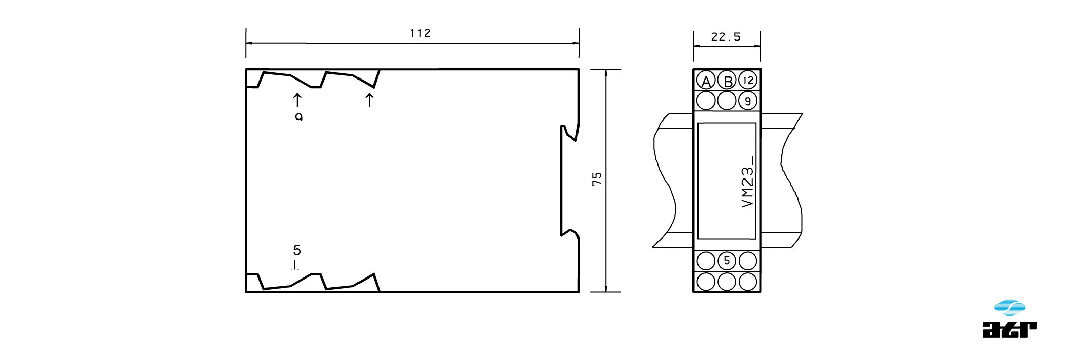 Gehäusemaße: ATR Messverstärker VM237/1-VM238/P