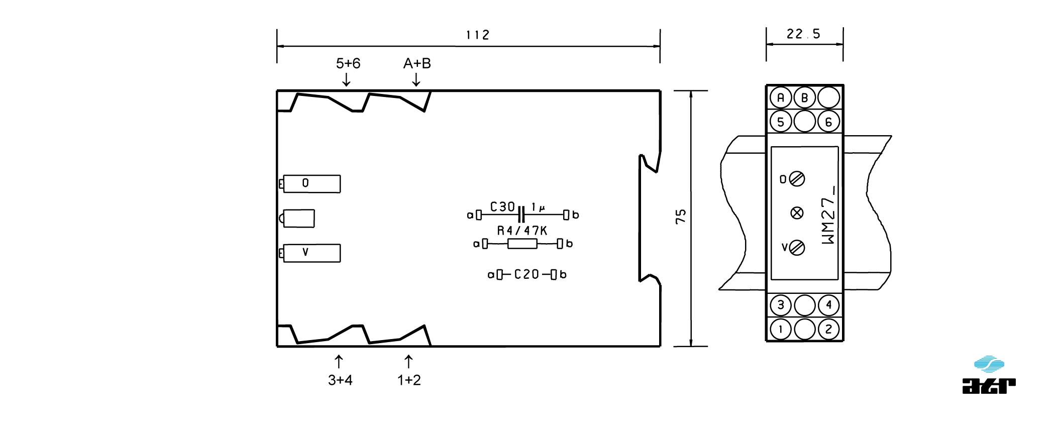 Gehäusemaße: ATR Messverstärker VM275-VM276