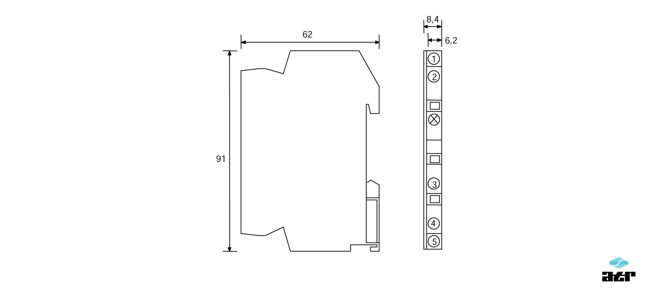 Gehäusemaße: ATR Messverstärker VT52