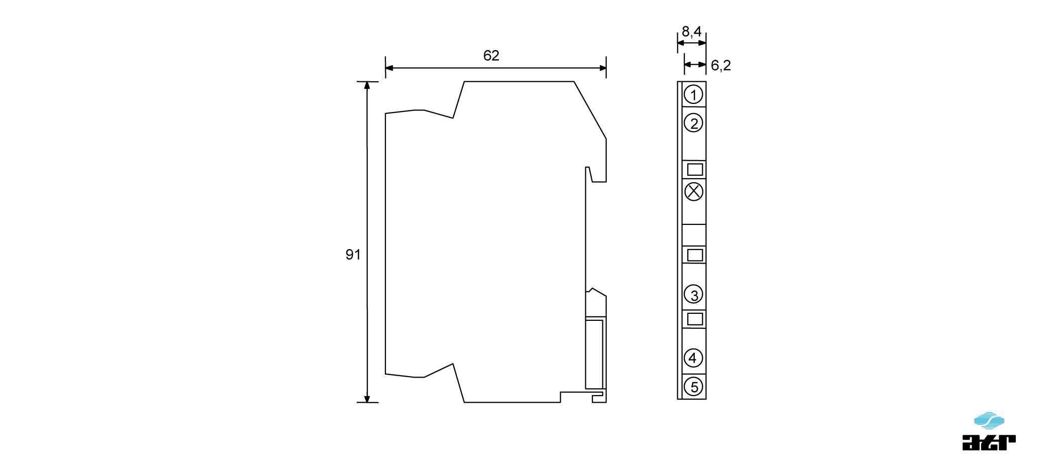 Gehäusemaße: ATR Messverstärker VT57