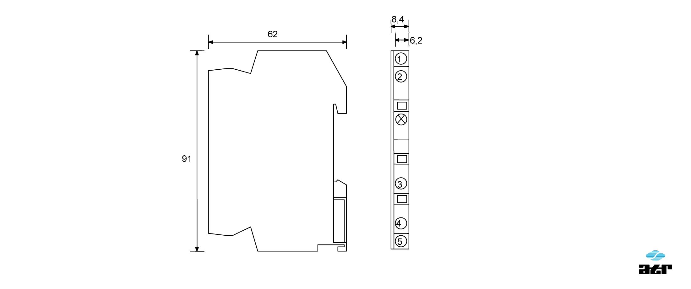 Gehäusemaße: ATR Passiver Optokoppler OT1 + OT2
