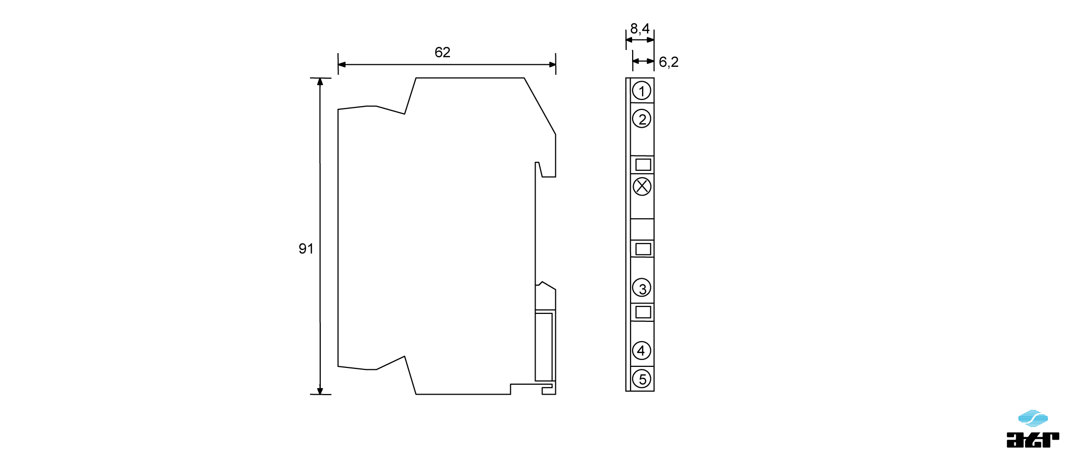 Gehäusemaße: ATR Passiver Leistungsoptokoppler OT4