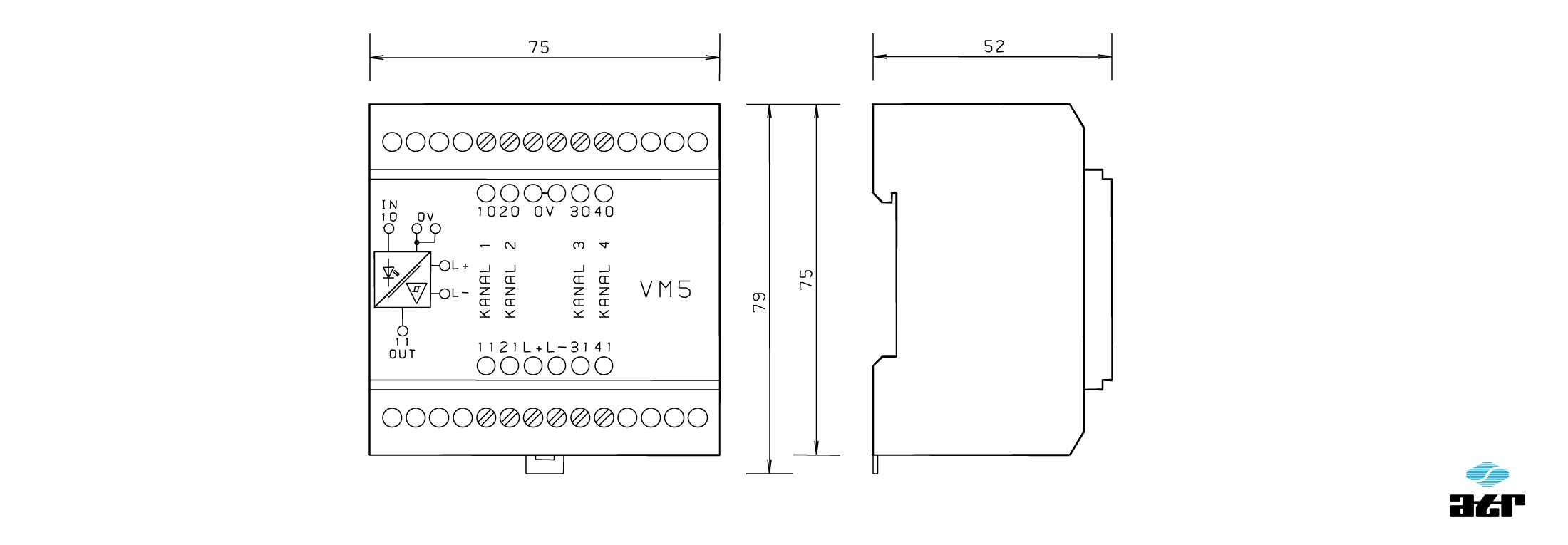 Gehäusemaße: ATR Passiver Leistungsoptokoppler VM5