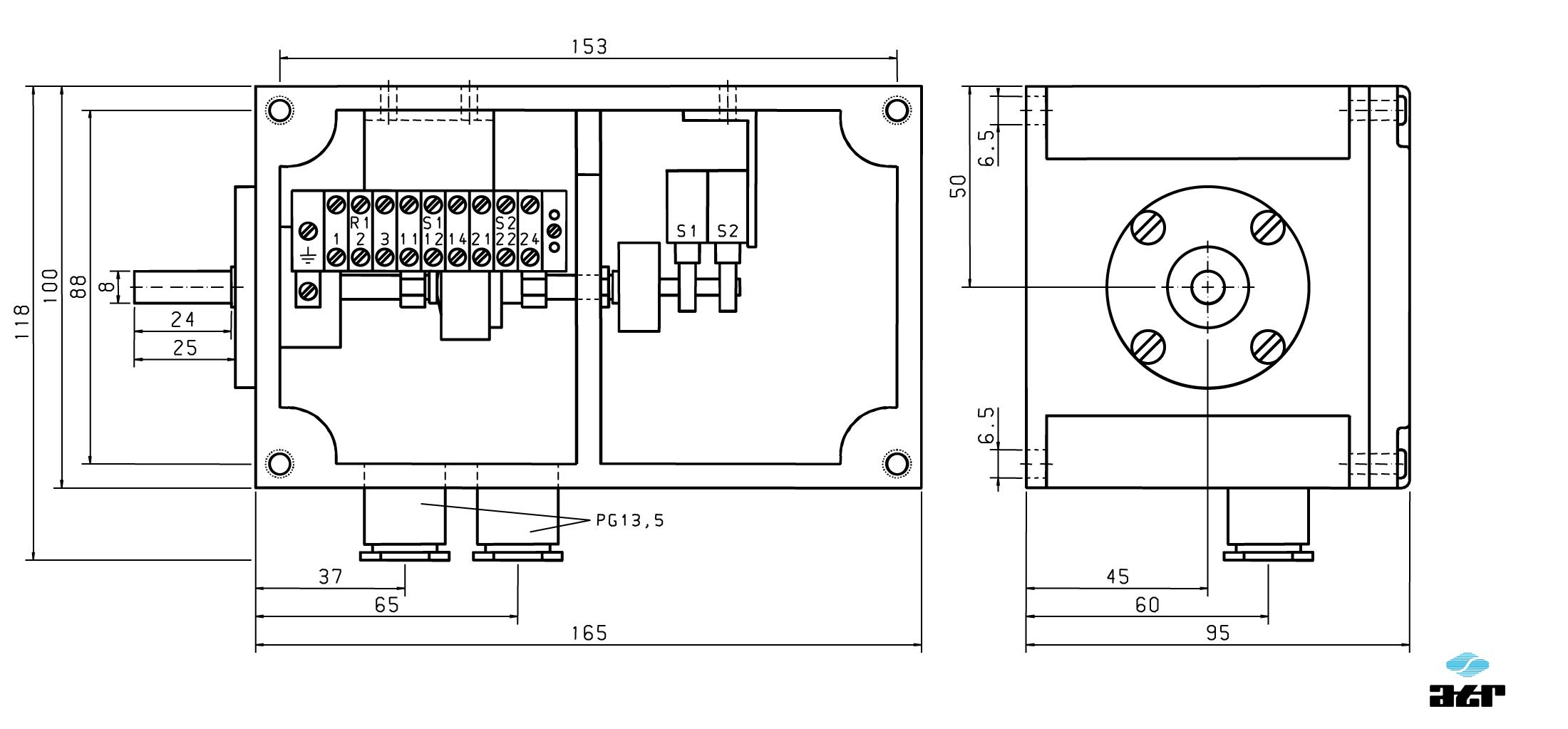 Gehäusemaße: ATR Tänzerpotentiometer UG30 + UG31