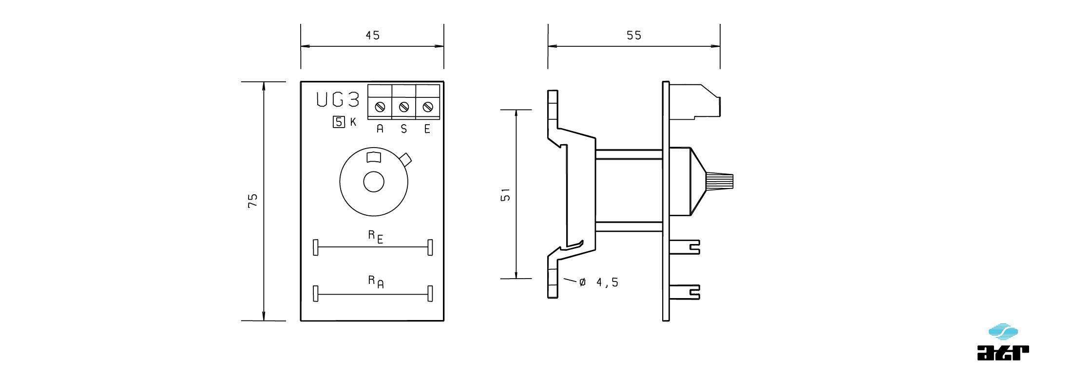 Gehäusemaße: ATR Potentiometer-Einheit UG3