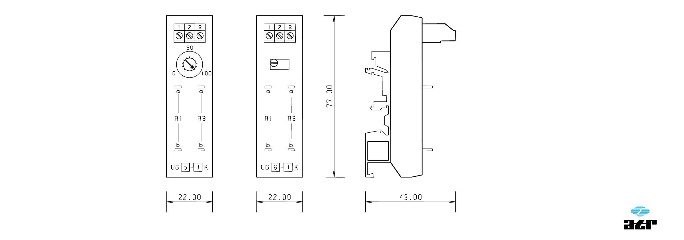 Gehäusemaße: ATR Potentiometer-Einheit UG5 + UG6