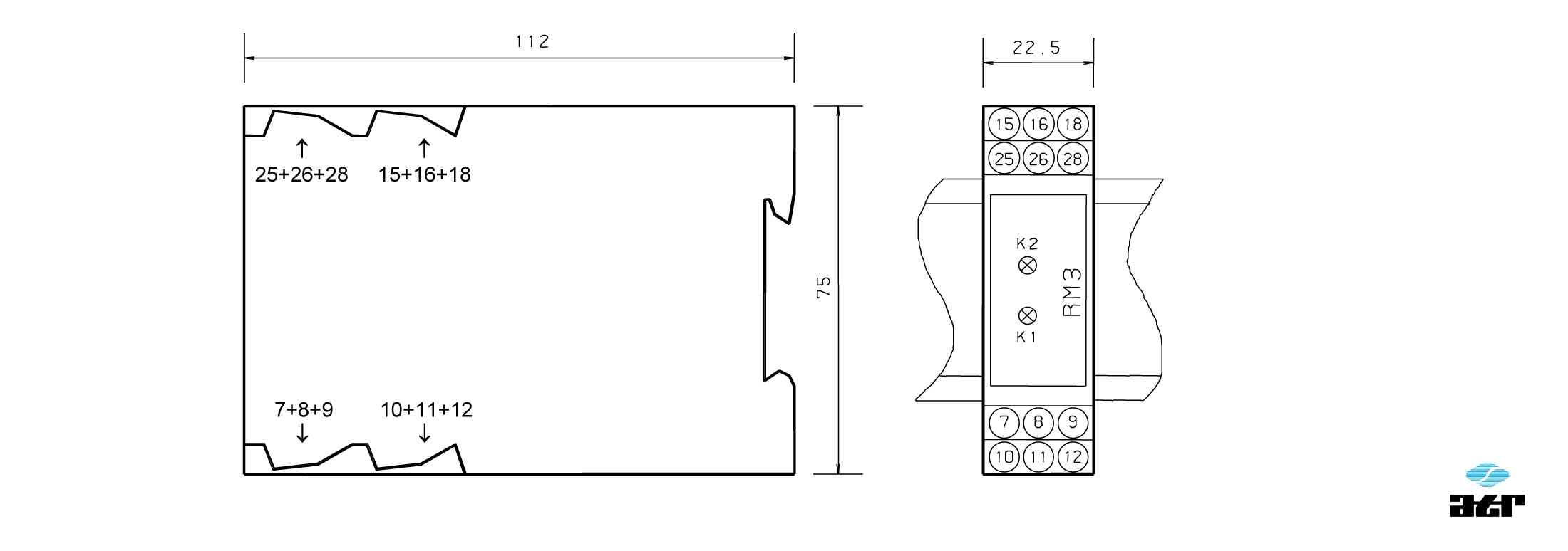 Gehäusemaße: ATR Relais-Baustein RM3