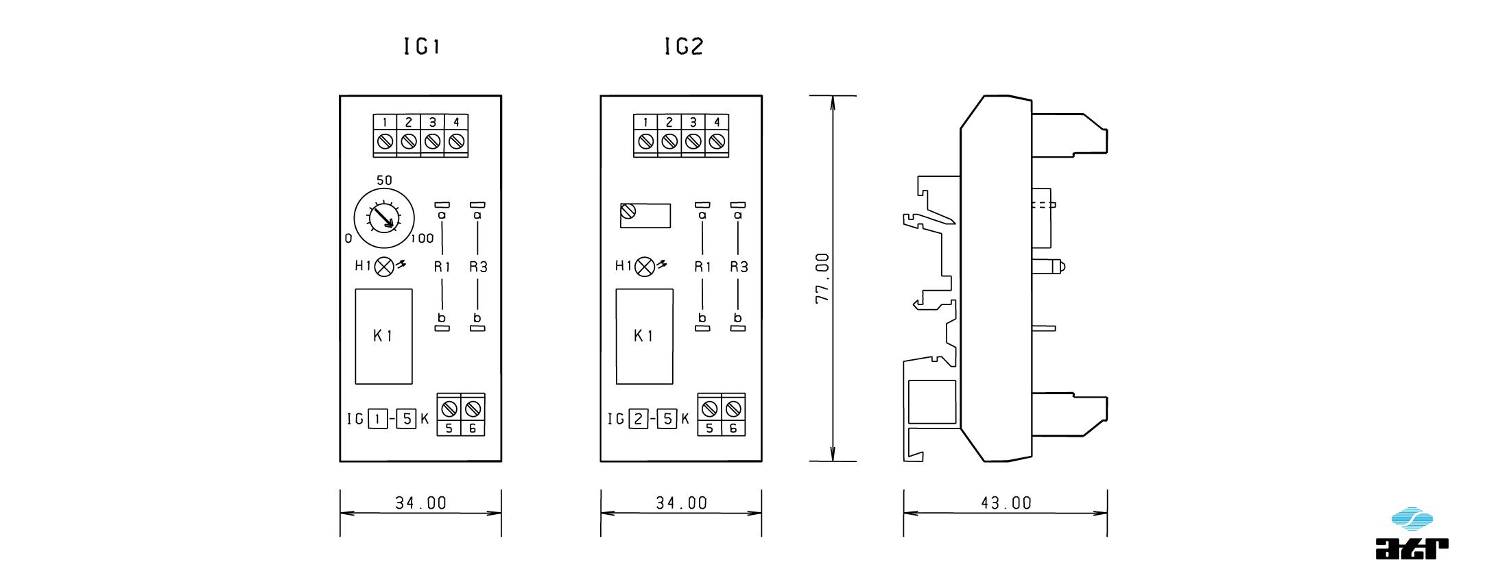 Gehäusemaße: ATR Sollwertvorgabe IG1 + IG2