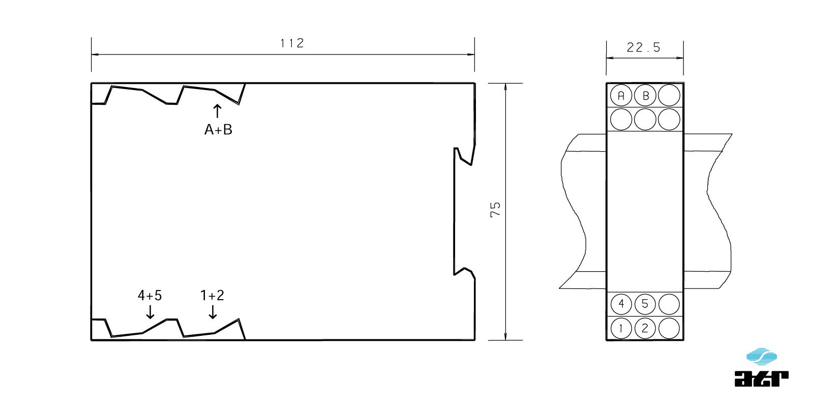 Gehäusemaße: ATR Trennverstärker VM180-VM188