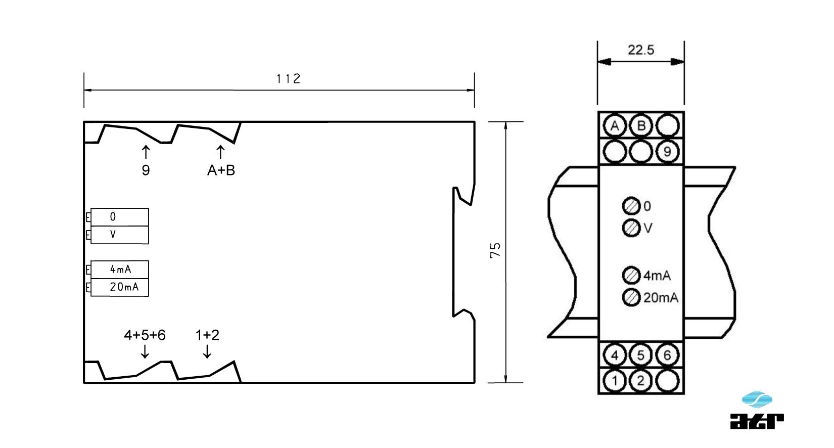 Gehäusemaße: ATR Trennverstärker VM310-VM314