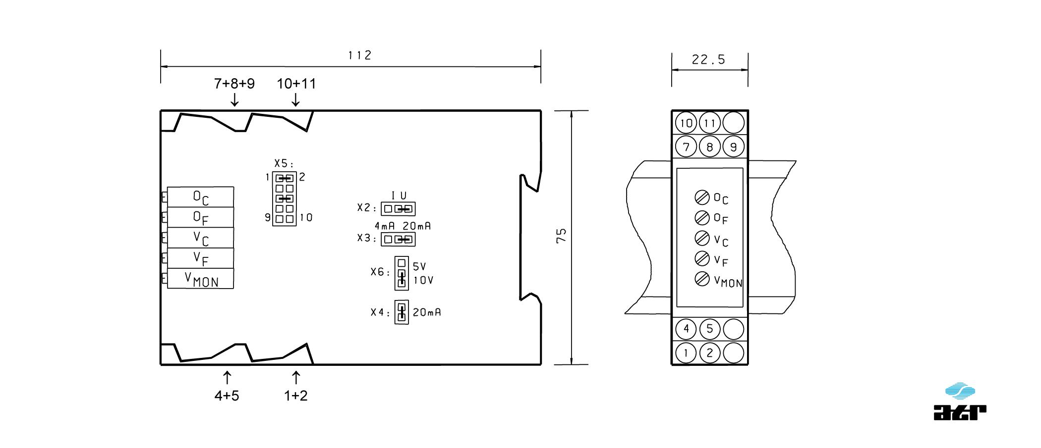 Gehäusemaße: ATR Verstärker VM150-VM151C