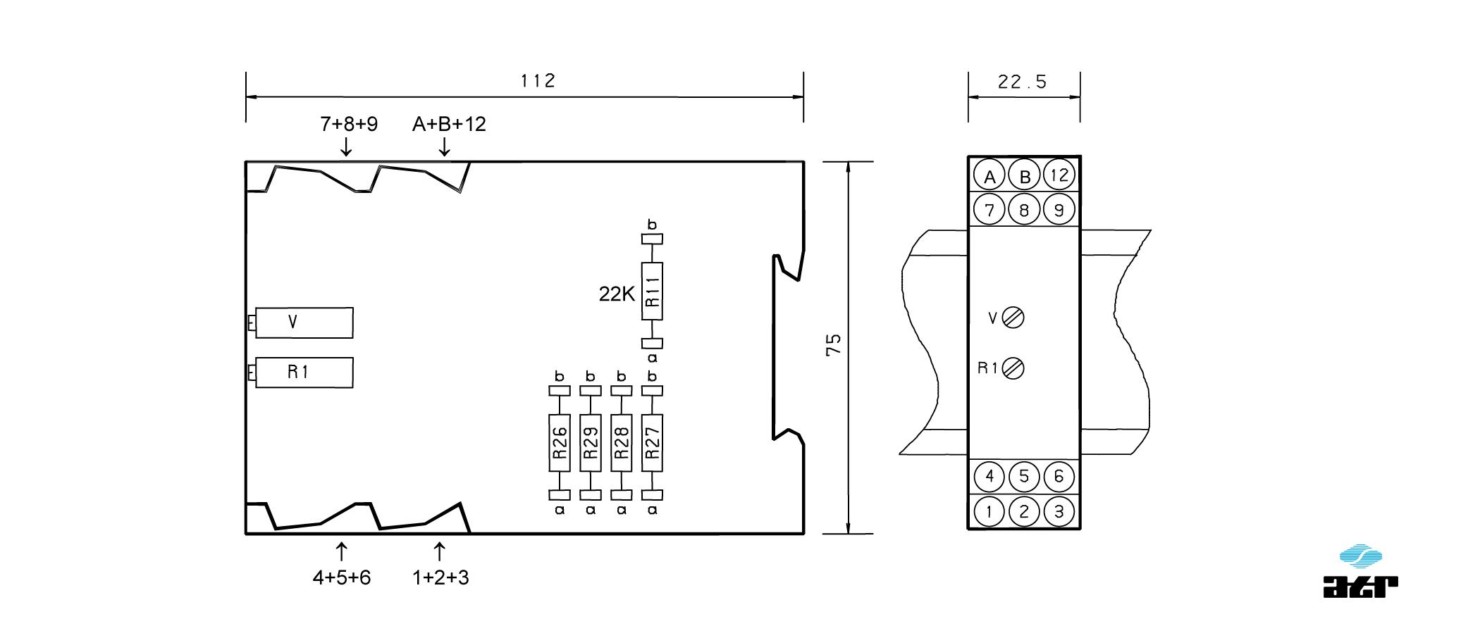 Gehäusemaße: ATR Verstärker VM237-VM238