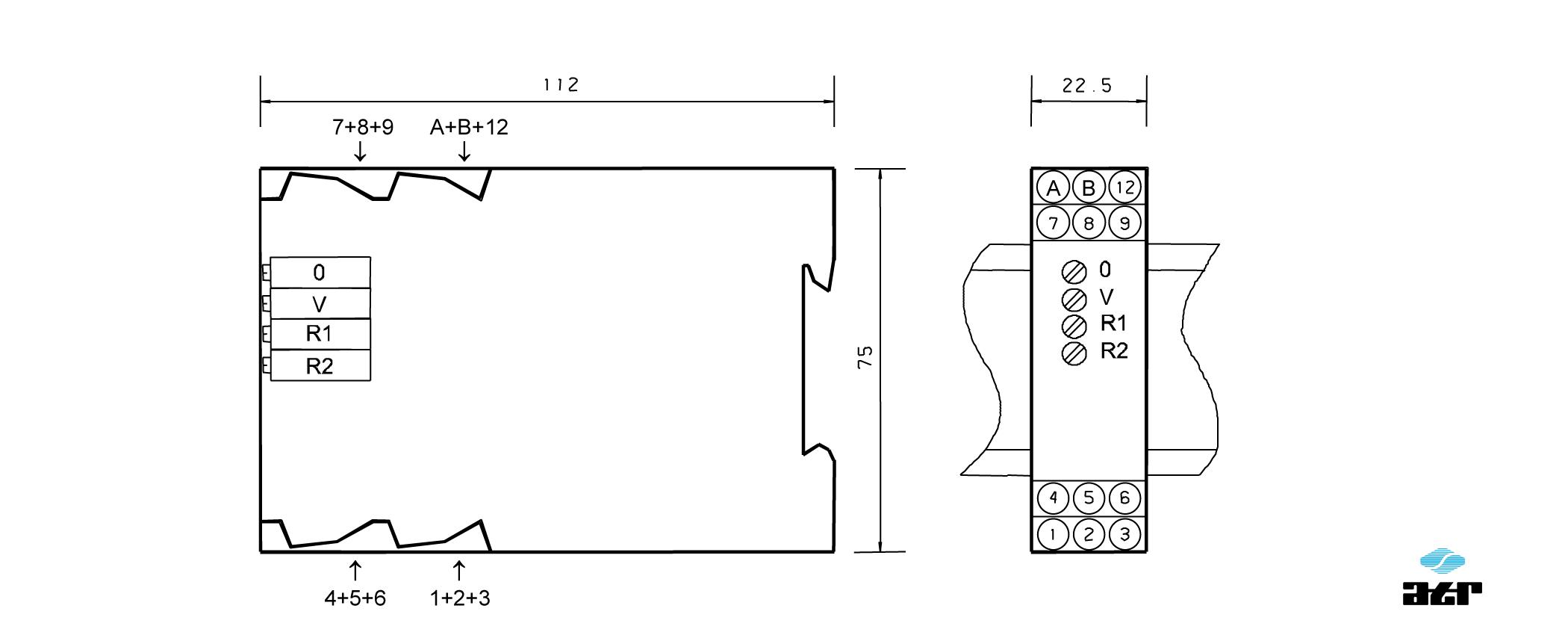 Gehäusemaße: ATR Verstärker VM290