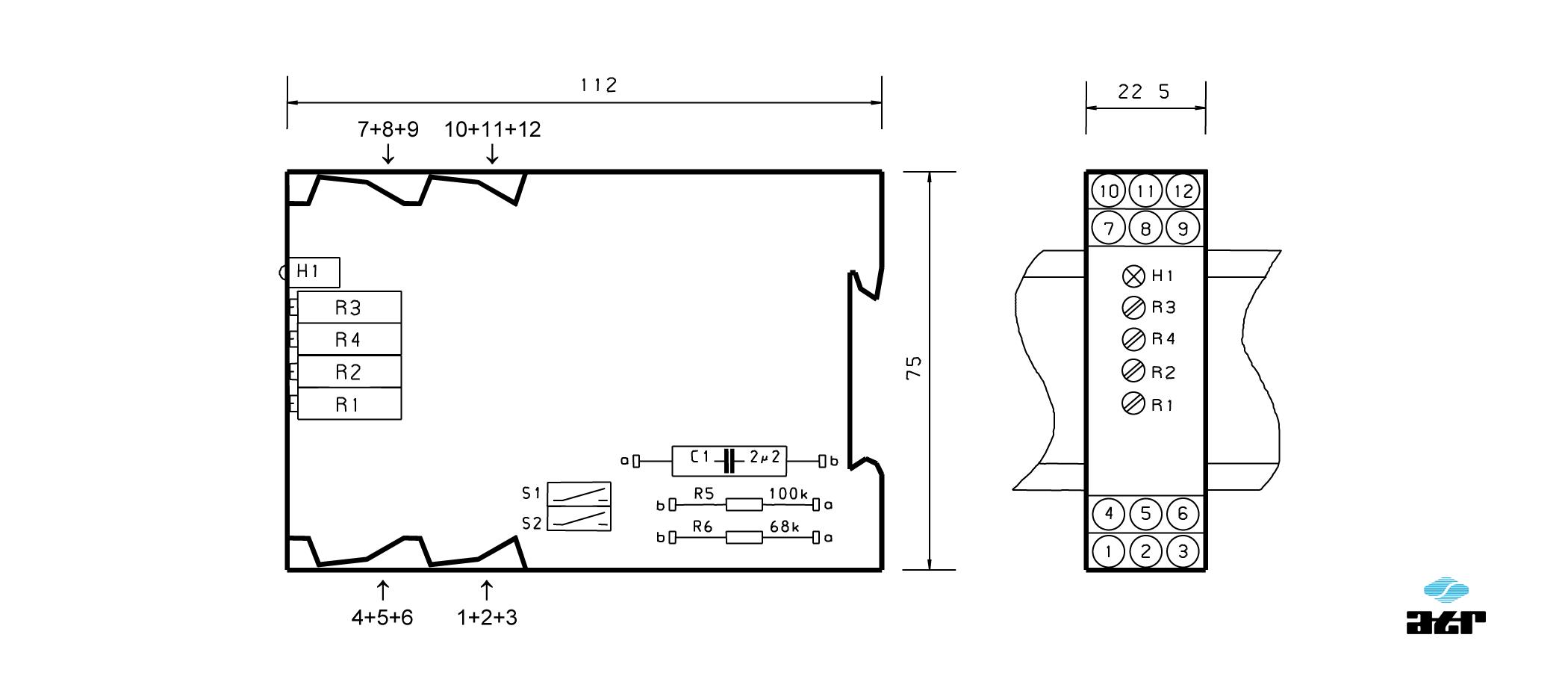 Gehäusemaße: ATR Verstärker VM6-VM8-VM9